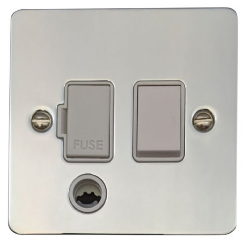 G&H FC56W Flat Plate Polished Chrome 1 Gang Fused Spur 13A Switched & Flex Outlet